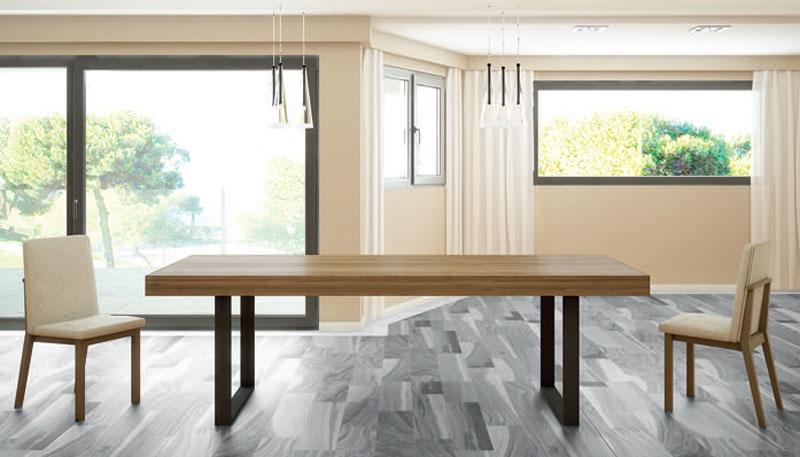 Mesa de comedor Rebeca 2 - Mesa comedor extensible rectangular, patas de metal