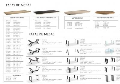 MESAS DE MADERA NATURAL Y PATAS DE HIERRO, METAL O CRISTAL