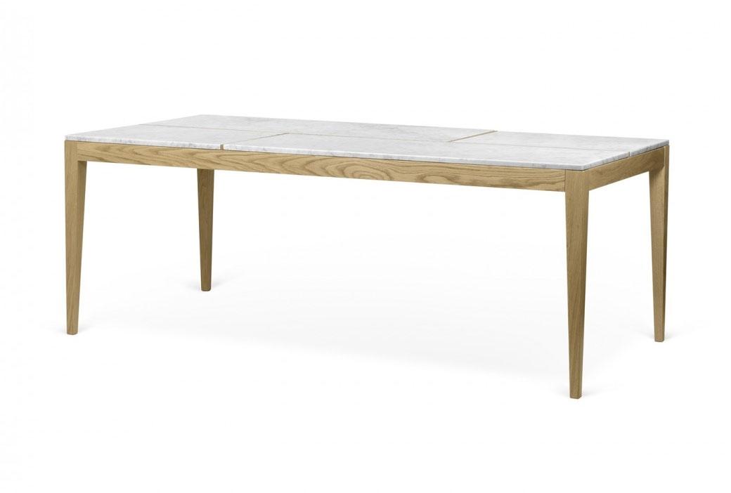 Mesa Utile - Mesa Utile, Mesa de comedor con cuatro tapas de mármol sobre una sólida estructura de roble