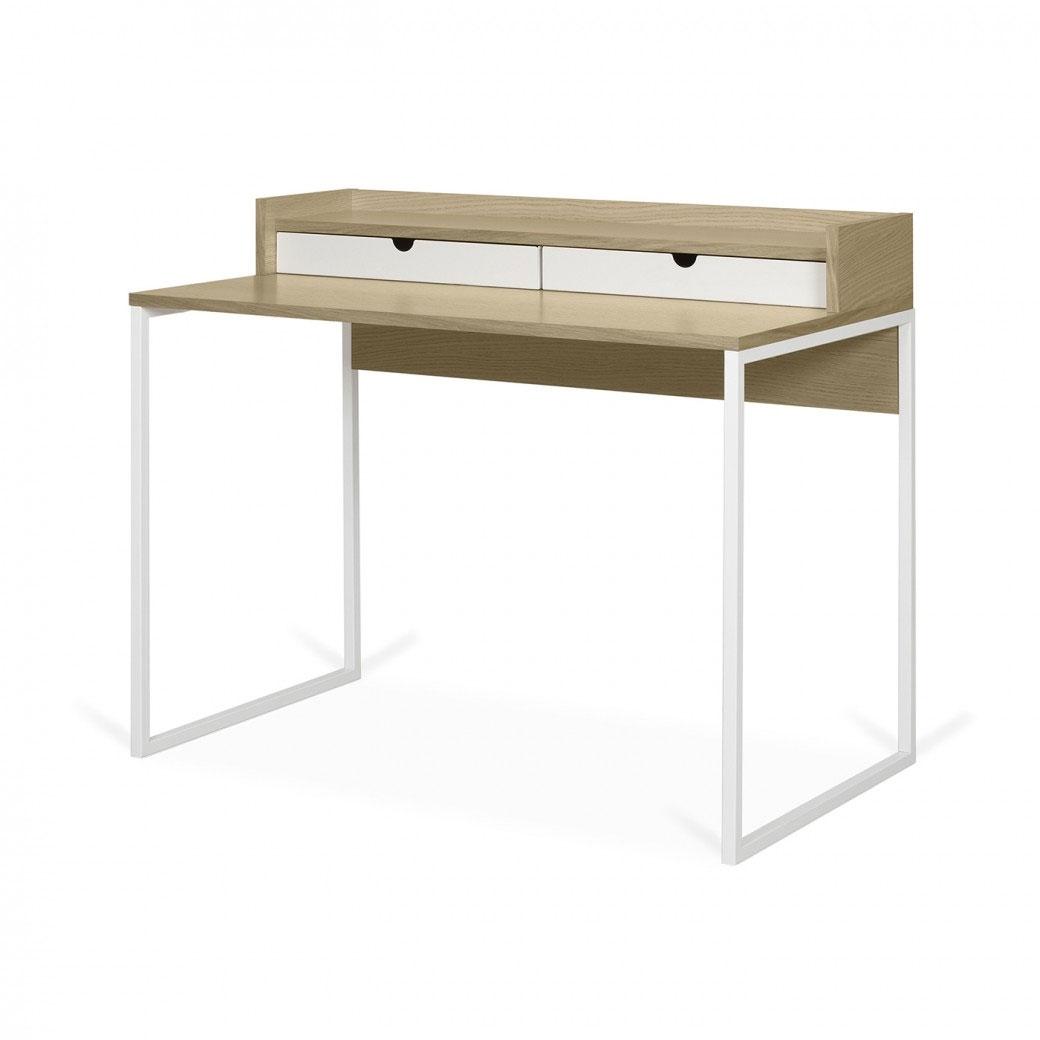 Escritorio Rise - Escritorio Rise, es un escritorio funcional con dos pequeños cajones metálicos blancos y un estante superior para mantener las cosas organizadas y hacer un uso eficiente de todas las áreas.