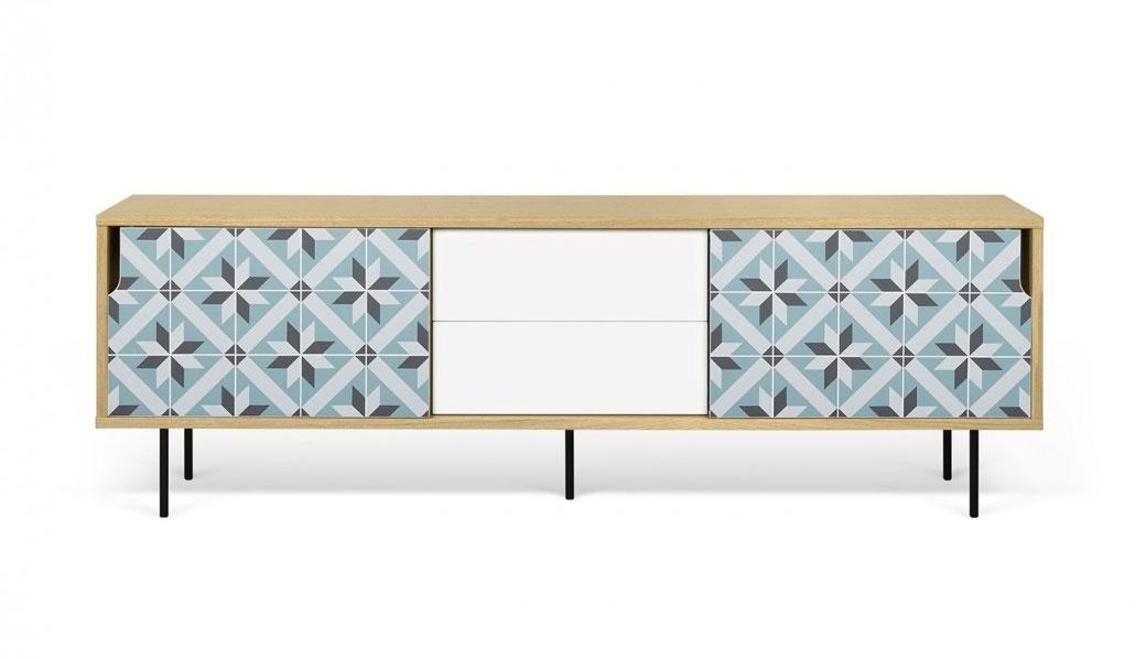 Aparador o Mesa de TV Dann Estrella patas metálicas - Aparador o Mesa de TV Dann Estrella, Aparador de tres gabinetes enchapados con cajones y un colorido patrón de vinilo aplicado en las dos puertas.