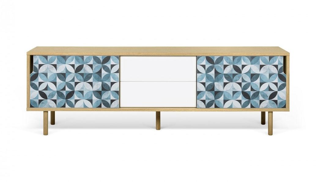 Aparador o Mesa de TV Dann Petalo - Aparador o Mesa de TV Dann Petalo, Aparador de tres gabinetes enchapados con cajones y un colorido patrón de vinilo aplicado en las dos puertas.
