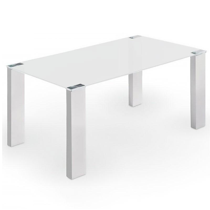 Mesa de comedor Soul - Mesa de comedor Soul, estructura de acero cromado y MDF lacada en blanco.