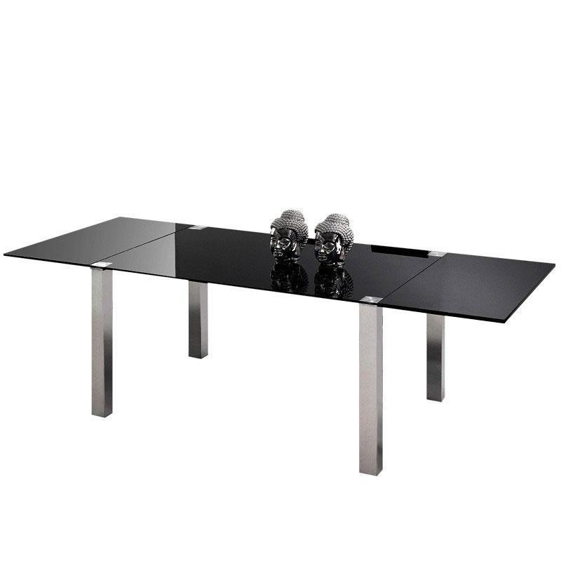 Mesa de comedor ext Plain - Mesa de comedor ext Plain, estructura de acero cromado y MDF lacada en blanco.