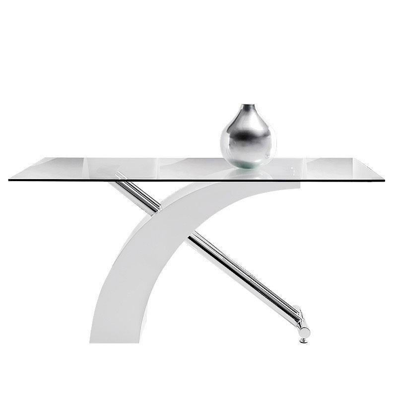 Mesa de comedor Ecco - Mesa de comedor Ecco, estructura de acero cromado y MDF lacada en blanco.