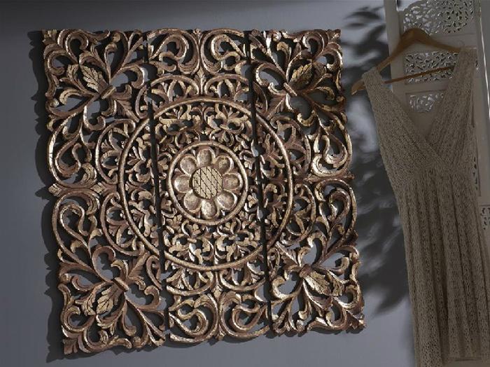 cuadro de madera tallada oro marron mia home