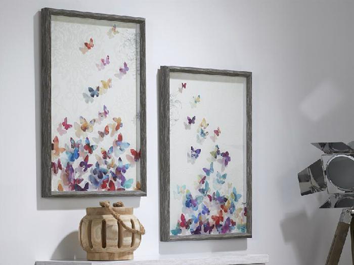 Set de 2 cuadros cristal mariposas impresas mia home - Cuadros de pies ...
