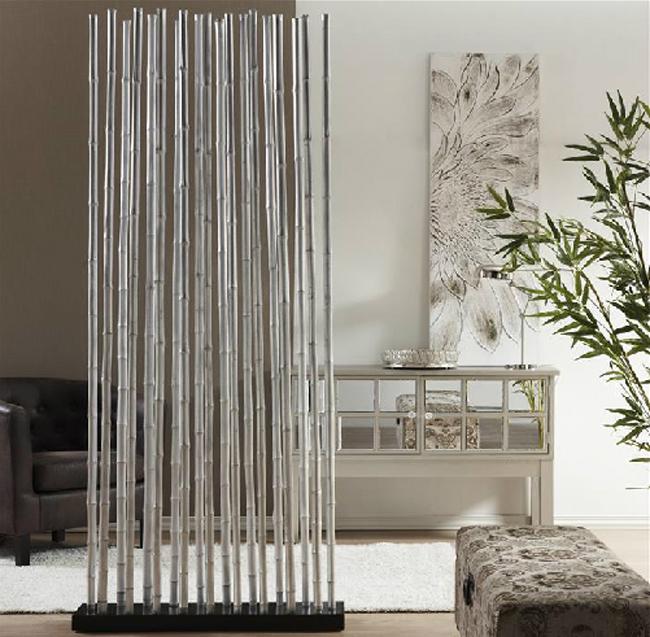 Biombo o separador ca as de bambu plata mia home - Canas de bambu decoracion exterior ...