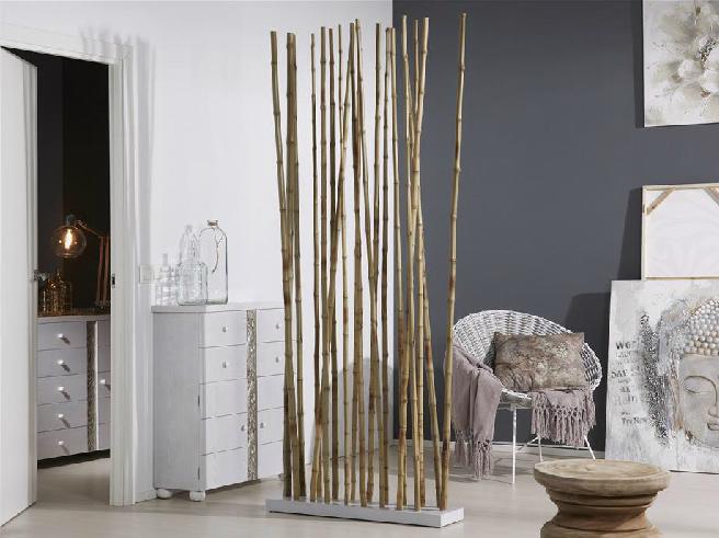 Biombo o separador ca as de bambu natural mia home - Canas de bambu decoracion exterior ...