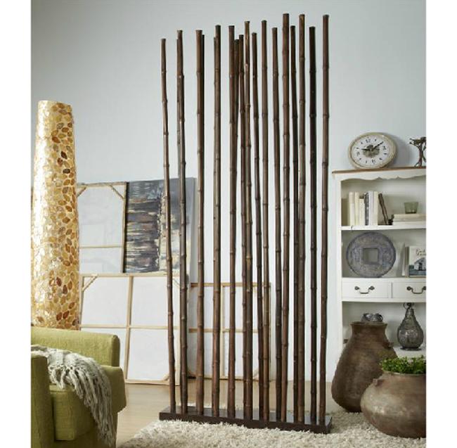 Biombo o separador ca as de bambu marron mia home for Separadores de ambientes modernos
