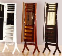 Joyero-espejo vestidor - Mueble fabricado en madera y lacado en colores nogal, blanco y venge.
