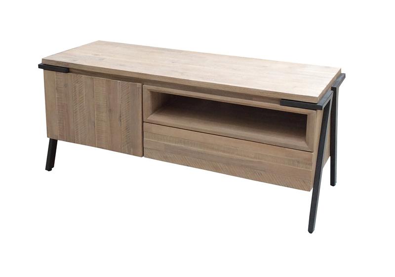 Mesa de TV Disset 1P 1C - Mesa de TV Disset 1P 1C en madera de acacia maciza