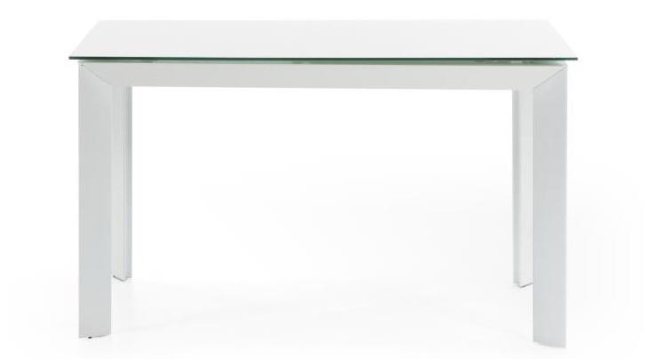 Mai home mesa de comedor extensible de cristal y acero en for Mesas de comedor de cristal y acero extensibles