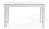 Mesa de comedor extensible - Mesa extensible de cristal y acero pintado en blanco