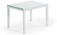 Mesa extensible Bama - Mesa extensible en cristal y acero en blanco brillante