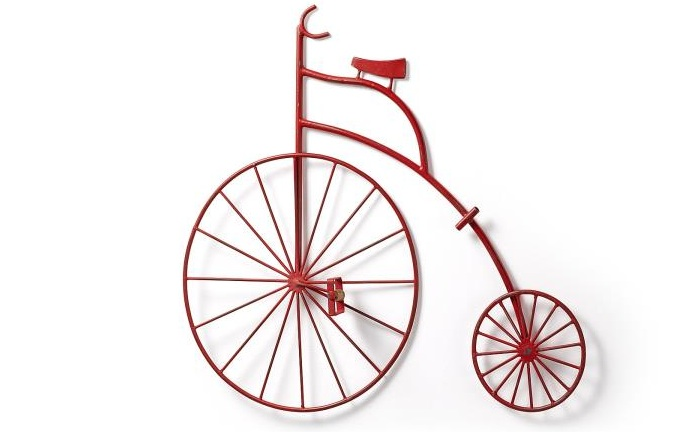 Mia home bicicleta decorativa de metal rojo for Adornos pared metal