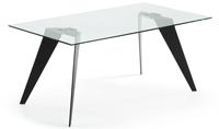 Mesa de comedor Nack - NACK Mesa 180x90  Negro Cristal Transparente