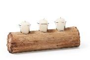 Candelabro de tronco acostado - Candelabro en forma de tronco acostado de madera natural