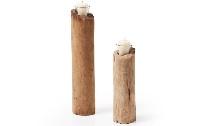 Candelabro de madera - Set de candelabros en forma de tronco de madera