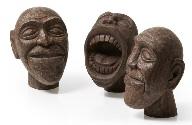 Set de 3 caras de madera - Set de 3 caras de madera reciclada