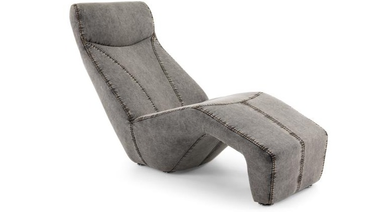 Chaise longue gris - Chaise longue tapizada en tela tejana