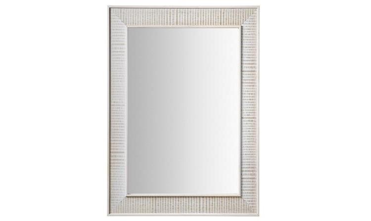 Mia home espejo con madera gris o blanco for Espejo marco gris
