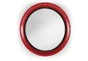 Espejo rojo redondo  - Espejo redondo con marco de hierro rojo