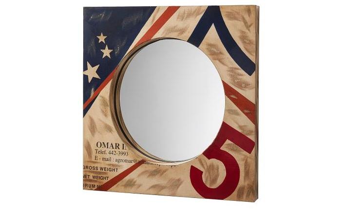 Espejo de metal multicolor - Espejo cuadrado de metal multicolor