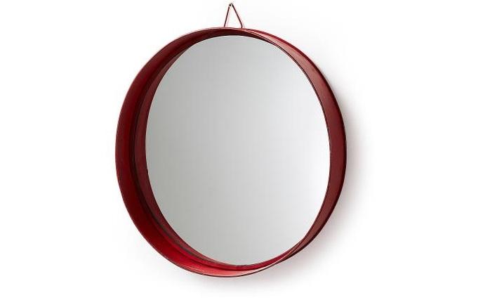 Mai home espejo redondo rojo for Espejo redondo marco madera