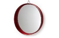 Espejo redondo con marco rojo - Espejo redondo con marco de metal rojo