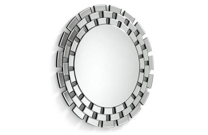 Mia home espejo redondo con marco de cristal for Espejos redondos con marco de madera