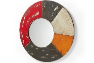 Espejo redondo de metal - Espejo redondo en metal multicolor envejecido