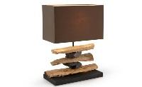 Lámpara de sobremesa con piedras - Lámpara de piedra y madera con pantalla marrón