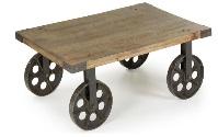 Mesa auxiliar con ruedas  - Mesa auxiliar rústica con ruedas de hierro