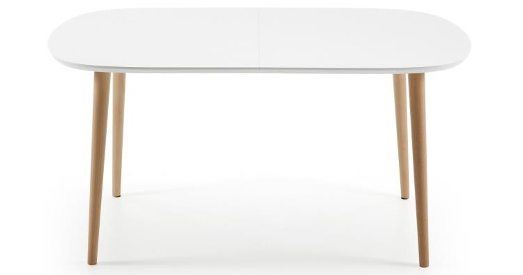 Mia home mesa de comedor ovalada extensible marr n blanco - Mesa comedor ovalada extensible ...