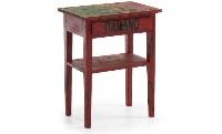 Mesa auxiliar roja vintage - Mesita auxiliar roja con efecto envejecido