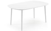 Mesa ovalada de madera extensible - Mesa de madera ovalada y extensible disponible en marrón ó blanco