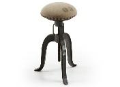 Taburete RENE - Taburete giratorio con pié de metal decorado con motivos vintage