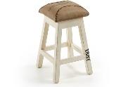 Taburete RENE - Taburete con piés de madera con asiento de canvas y aplicaciones de cuero