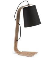 Lámpara de mesa con pantalla negra y blanca - Madera con pantalla de algodón