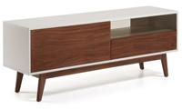 Mueble de TV con estructura en tablero de fibra de madera lacado mate - Puertas y cajones en chapa de nogal americano.