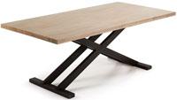 Mesa en madera de acacia maciza en acabado natural blanqueado - Pies en metal pintado envejecido