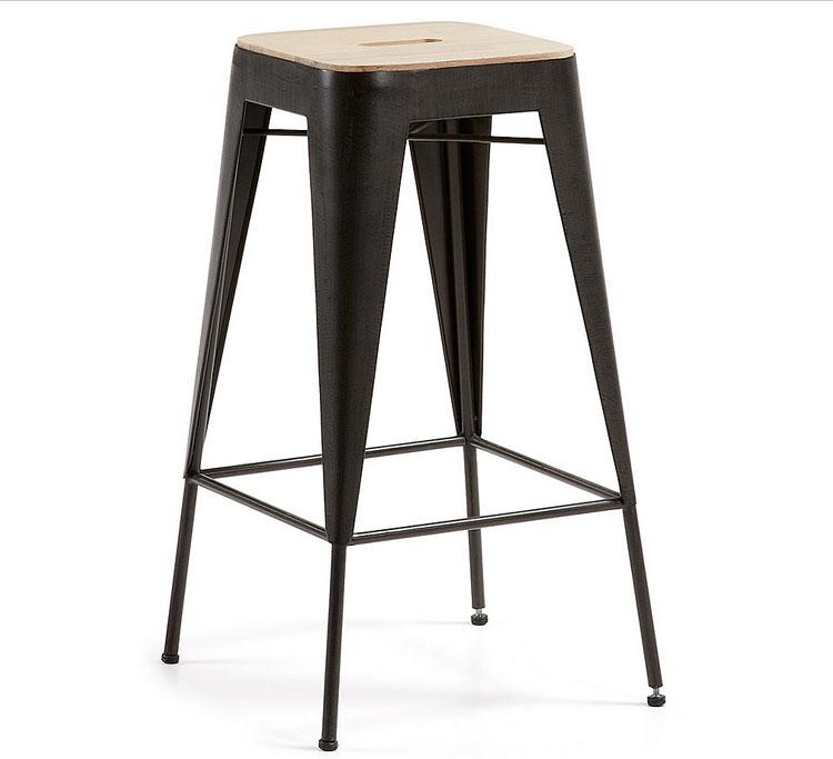Taburete con asiento de madera acacia