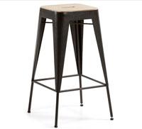 Taburete con asiento de madera acacia - Estructura de metal pintado grafito