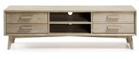 Mueble Tv en madera de acacia maciza en acabado teñido gris claro - Diseño moderno