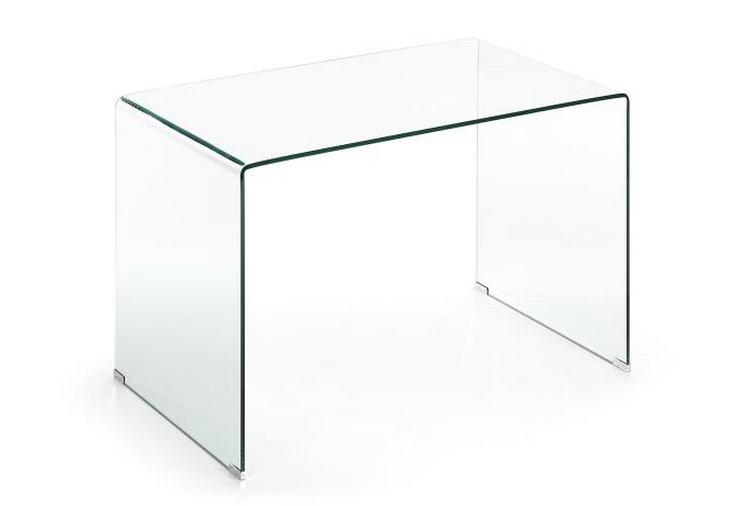 Escritorio trabajo cristal templado transparente for Mesa escritorio cristal