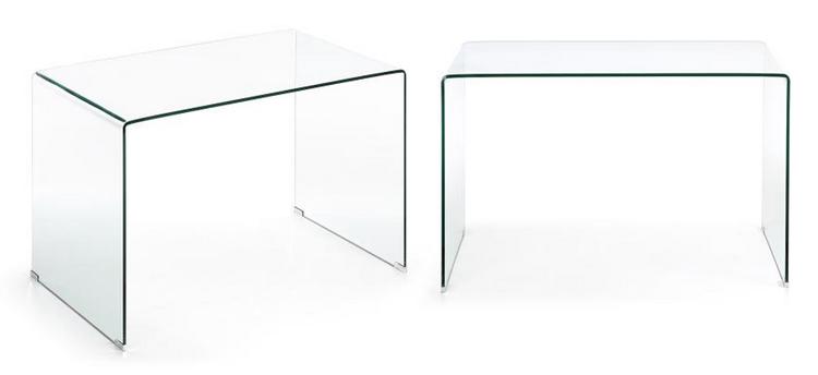 Escritorio trabajo cristal templado transparente for Mesa cristal ikea escritorio
