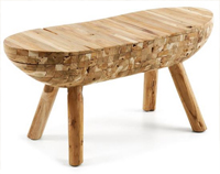 Banqueta en madera de teca reciclada - Estilo natural y ameno