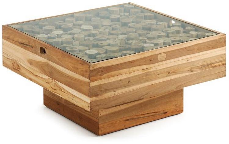 Mesa centro madera teca cristal - Mesa de teca ...