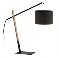 Lámpara pie de madera y metal y pantalla de algodón - De sobremesa o de pie disponible